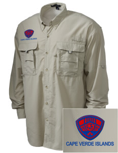 Cape Verde Islands Soccer Embroidered Men's Explorer Shirt with Pockets