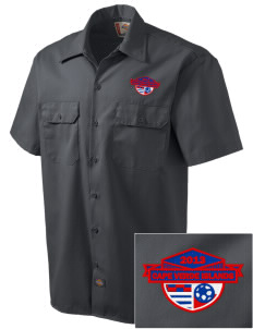 Cape Verde Islands Soccer Embroidered Dickies Men's Short-Sleeve Workshirt
