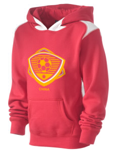 China Soccer Kid's Pullover Hooded Sweatshirt with Contrast Color