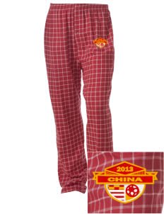 China Soccer Embroidered Unisex Button-Fly Collegiate Flannel Pant