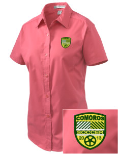Comoros Soccer Embroidered Women's Easy Care Short Sleeve Shirt