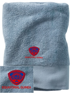 Equatorial Guinea Soccer Embroidered Zero Twist Resort Towel
