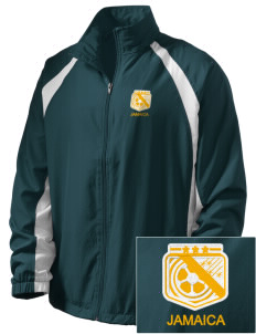 Jamaica Soccer  Embroidered Men's Full Zip Warm Up Jacket