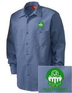 San Marino Soccer Embroidered Men's Industrial Work Shirt - Regular