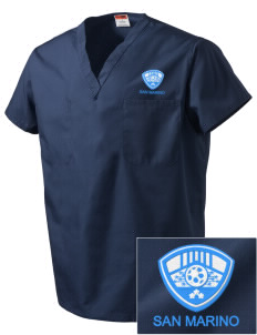 San Marino Soccer Embroidered V-Neck Scrub Top