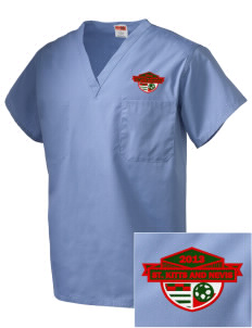 St. Kitts and Nevis Soccer Embroidered V-Neck Scrub Top
