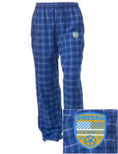 Sweden Soccer Embroidered Unisex Button-Fly Collegiate Flannel Pant