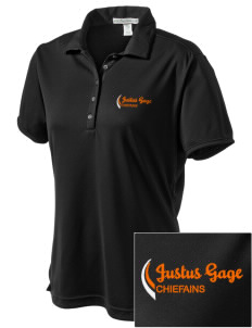 Justus Gage Elementary School Chiefains  Embroidered Women's Bamboo Charcoal Birdseye Jacquard Polo