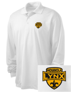 Indianola Junior High School Lynx Embroidered Men's Long Sleeve Micropique Sport-Wick Sport Shirt