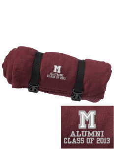 Marshall Middle School Mustangs Embroidered Fleece Blanket with Strap