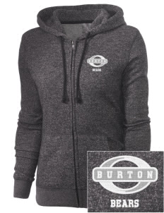 Burton Elementary School Bears Embroidered Women's Marled Full-Zip Hooded Sweatshirt