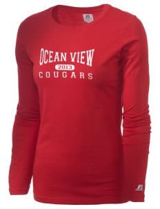 Ocean View Elementary School Cougars  Russell Women's Long Sleeve Campus T-Shirt