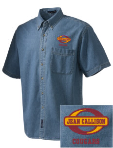 Jean Callison Elementary School Cougars  Embroidered Men's Denim Short Sleeve