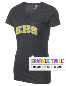 Emmaus High School Hornets Women's Tri-Blend V-Neck T-Shirt with Sparkle Twill™