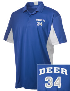 Deer Park Elementary School Deer Embroidered Men's Side Blocked Micro Pique Polo