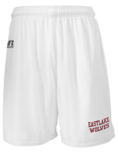 "Eastlake High School Wolves  Russell Men's Mesh Shorts, 7"" Inseam"