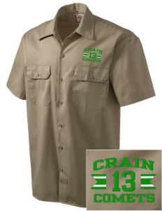 Crain Middle School Comets Embroidered Dickies Men's Short-Sleeve Workshirt