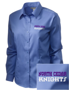 North Cedar Middle School Knights  Embroidered Women's Long Sleeve Non-Iron Twill Shirt