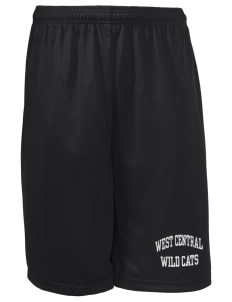 "West Central Middle School Wild Cats Long Mesh Shorts, 9"" Inseam"