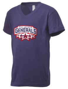Douglas MacArthur High School Generals Kid's V-Neck Jersey T-Shirt