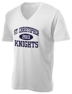 Saint Christopher Academy Knights Alternative Men's 3.7 oz Basic V-Neck T-Shirt