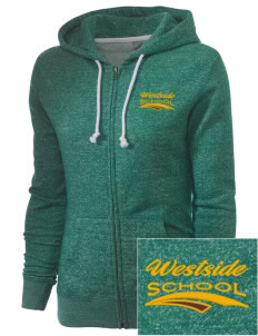 Westside School School Embroidered Women's Marled Full-Zip Hooded Sweatshirt