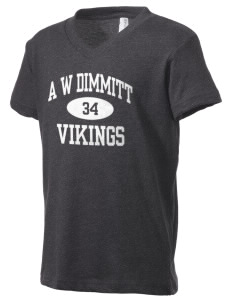 A W Dimmitt Middle School Vikings Kid's V-Neck Jersey T-Shirt