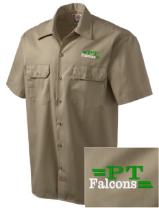 Pine Tree Elementary School Falcons Embroidered Dickies Men's Short-Sleeve Workshirt