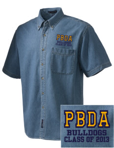 Palm Beach Day Academy Bulldogs  Embroidered Men's Denim Short Sleeve