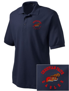Christian Faith School Eagles Embroidered Tall Men's Silk Touch Polo