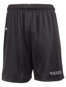 "West Valley Middle School Wolves  Russell Men's Mesh Shorts, 7"" Inseam"