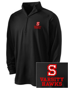 Stacy Middle School Hawks Embroidered Men's Stretched Half Zip Pullover
