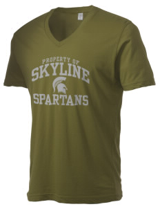 Skyline High School Spartans Alternative Men's 3.7 oz Basic V-Neck T-Shirt