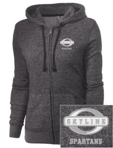 Skyline High School Spartans Embroidered Women's Marled Full-Zip Hooded Sweatshirt