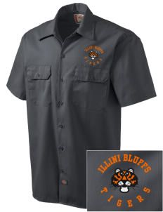 Illini Bluffs Elementary School Tigers Embroidered Dickies Men's Short-Sleeve Workshirt
