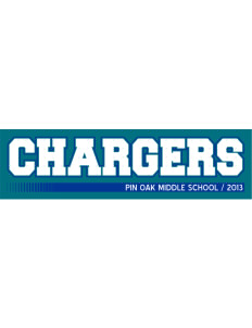 "Pin Oak Middle School Chargers Bumper Sticker 11"" x 3"""