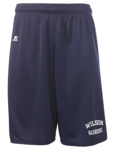 "Wilson Junior High School Warriors  Russell Deluxe Mesh Shorts, 10"" Inseam"