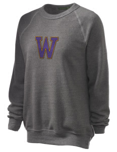 Washington Middle School Huskies Unisex Alternative Eco-Fleece Raglan Sweatshirt with Distressed Applique