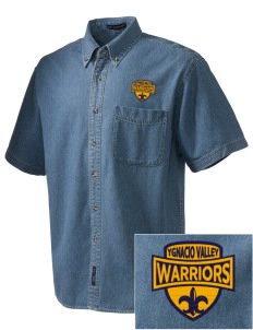 Ygnacio Valley High School Warriors  Embroidered Men's Denim Short Sleeve