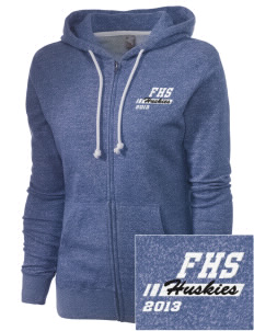 Fortuna Union High School Huskies Embroidered Women's Marled Full-Zip Hooded Sweatshirt