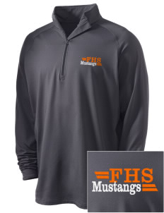Foothill High School Mustangs Embroidered Men's Stretched Half Zip Pullover
