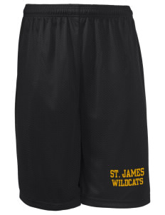"Saint James High School Wildcats Long Mesh Shorts, 9"" Inseam"