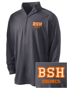 Billings Senior High School Broncs Embroidered Men's Stretched Half Zip Pullover