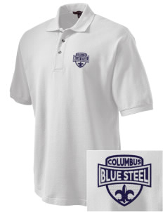Christopher Columbus High School Blue Steel Embroidered Tall Men's Pique Polo