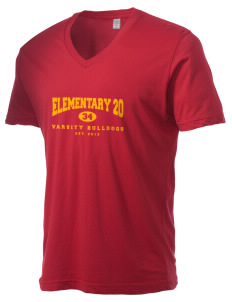 Elementary School 20 Bulldogs Alternative Men's 3.7 oz Basic V-Neck T-Shirt