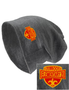 Elementary School 20 Bulldogs Embroidered Slouch Beanie