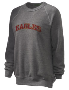 Portsmouth Christian Academy Eagles Unisex Alternative Eco-Fleece Raglan Sweatshirt with Distressed Applique