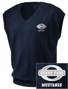 Henry Ford Elementary School Mustangs Embroidered Men's Fine-Gauge V-Neck Sweater Vest