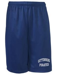 "Guttenberg Elementary School Pirates Long Mesh Shorts, 9"" Inseam"