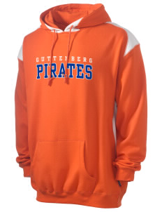 Guttenberg Elementary School Pirates Men's Pullover Hooded Sweatshirt with Contrast Color